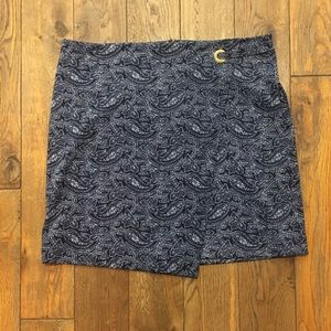MICHAEL KORS TRUE NAVY FAUX WRAP SKIRT W/GOLD